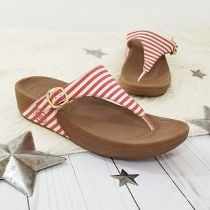 Fitflop The Skinny thong sandals red nautical stri